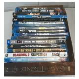 Flat of assortment of blu-ray movies. Lot of 17