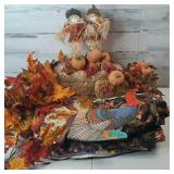 Fall decor straw ,paper Turkey, table cloth, fall