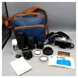 Minolta X-370 35MM Camera w Lenses, Flash,