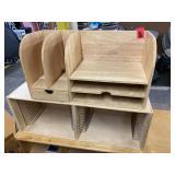 Lot - wooden Desktop Cubby & Paper Sorter