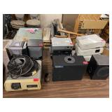 Desktop Table Lot, projectors, stereo, speakers