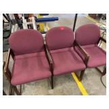 set of 3 office chairs, connected