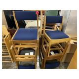 Lot of 6 Wooden/Blue Chairs
