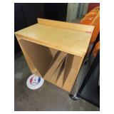 wood podium, book divider/whiteboard