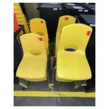 approx 20 yellow childs chairs
