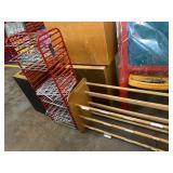 metal rack, wood rack