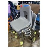 Lot of 5 grey student chairs