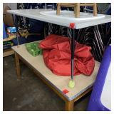 2 tables, beanbag lot