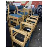 Lot of 18 Wooden, cloth chairs