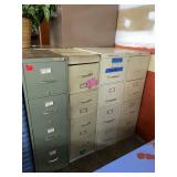 Lot of 4 metal filing cabinets