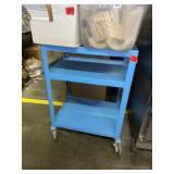 Blue Rolling Metal Cart