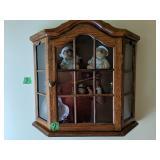 Oak Wall Curio. Lenox Bears, Fenton Cobalt Bell,