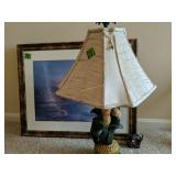 "31"" Fishing Print, 28"" Bird Table Lamp"