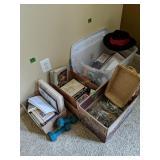Plastic Storage Tote, Stemware, Books, Dumbbells,