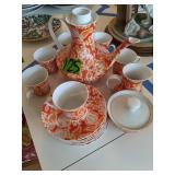 Orange Block Bidasoa Spain Tea Set