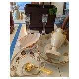 Limoges Dishes, Bowls, Vase, Heirloom Crystal
