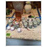 Oriental Tea Set, Covered Tea Cups, Coasters
