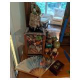 Oriental Doll, Fan, Trinket Box, Nesting Dolls