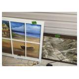 Painted Beach Scene Window Pane, Art Painting