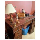 "42"" Knee Hole Desk, Table Lamp Etcthe Whole Desk,"
