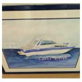 "Last Call Boat Watercolor 24"" Wide"