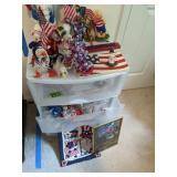 Plastic Organizer With Patriot Annalee Dolls Etc