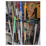 Yard Tools. Rakes, Broom Etc