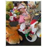 Table Lot Large Annalee Dolls. Pumpkin, Deer,