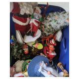 Dark Blue Tote Annalee Dolls, Santa Claus, Tree