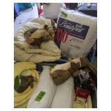 2 Plastic Totes, Comforters, Straw Bunnies Etc