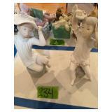 Pair Of Lladro Girl Figurines