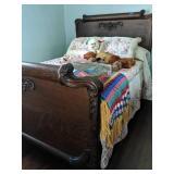 Victorian Tiger Oak Bed