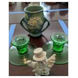 Roseville Vase, Green Depression Glass