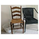 Pair Of Chairs, Wicker Trash Can