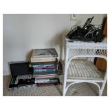 Books, Wicker Stand, Phones, Poker Set
