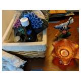 Stangl Bird, Carnival Glass Candy Dish, Basket