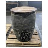 Metal Barrel With Wooden Lid