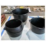3 Cast Iron Pots