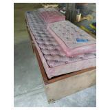 Mahogany Wood Storage Box Seat With Cushions