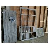 Rustic Weathered Door, Large Window Panes