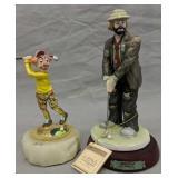 Emmett Kelly Jr, Ron Lee Clown Golfer Figurines