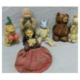 Vintage Toys. Teddy Bear, Squirrel, Rabbit,