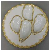 """7.25"""" H&co Depose White & Gold Oyster Plate"""