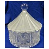 Pressed Glass Carousel Covered Dish