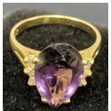 14k Gold Amethyst Diamond Ring 2.6 Dwt