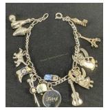 "7"" Sterling Silver Charm Bracelet 19.8 Dwt"