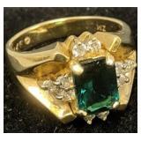 14k Gold Diamond Green Gemstone Ring 4.6 Dwt