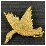 14k Gold Duck Brooch Pin 6.8 Dwt