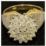 14k Gold Diamond Cluster Cocktail Ring 4.6 Dwt