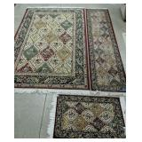 3 Pc Set Red Multicolor Panel Machine Made Rugs